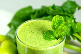 Healthy green vegetable smoothie with apples,spinach,cucumber,l